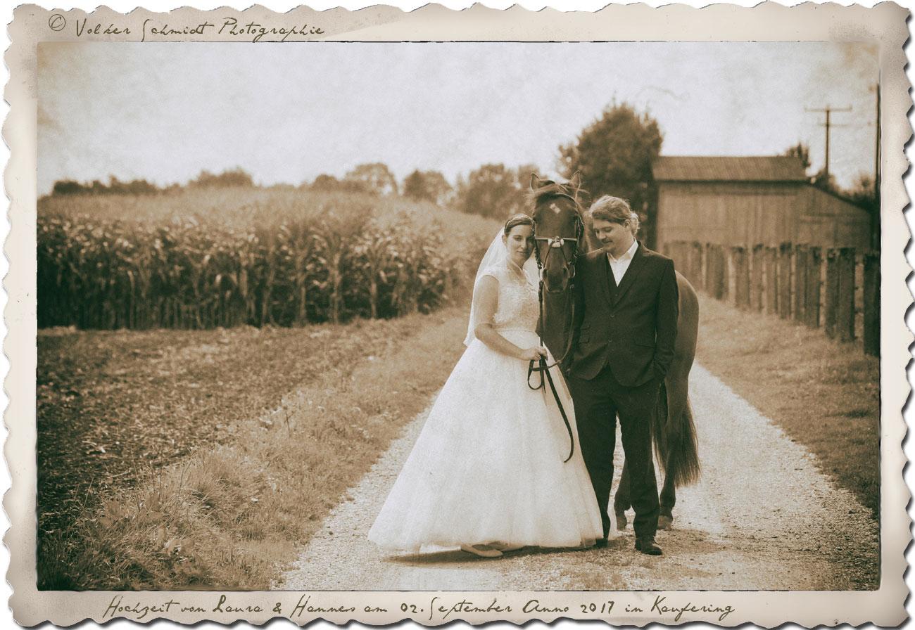 Brautpaar Mit Pferd Vintage Volker Schmidt Photographie